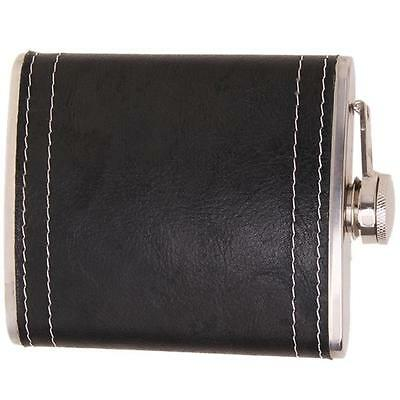 7oz Black Stainless Steel Drink Wine Liquor Alcohol Hip Flask Leather Pocket