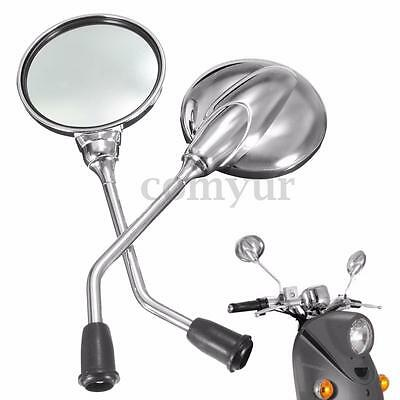 Universal Chrome 8mm Motorcycle Motorbike Scooter moped Rear View Mirrors Pair