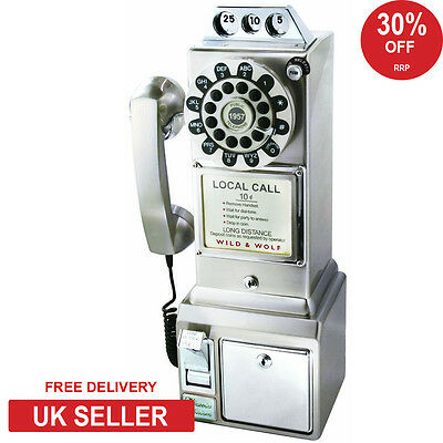 Wild & Wolf 1950s Retro American Diner Phone Chrome