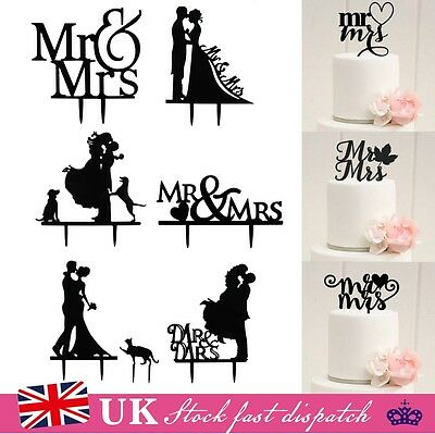 Wedding Party Mr & Mrs Bride & Groom Cake Topper Anniversary Favours Decoration