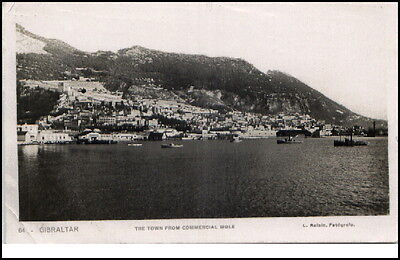 Gibraltar vintage Postcard 1934  The Town from commercial mole Gesamtansicht
