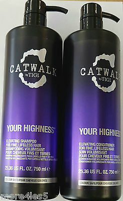 Catwalk by TIGI Duo YOUR HIGHNESS Elevating Shampoo & Conditioner 750ml Pump NEW