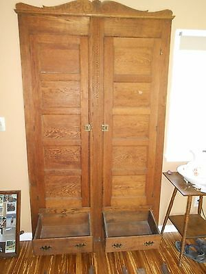 "1800's OAK CLOSET FRONT LINEN CABINET 52 1/4 X 91"" w/ 2 Drawers Arch. Salvage."