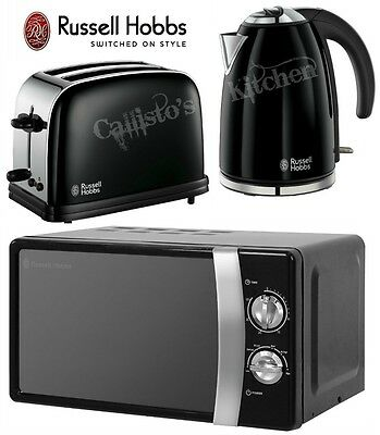 Russell Hobbs Colours Kettle and Toaster Set & Manual Black Microwave New