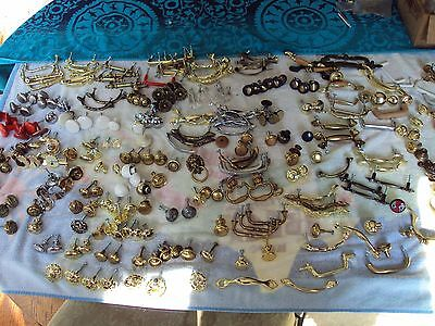 Huge Mixed Lot Of Vintage Furniture Drawer Cabinet Handles & Pulls Antique Brass