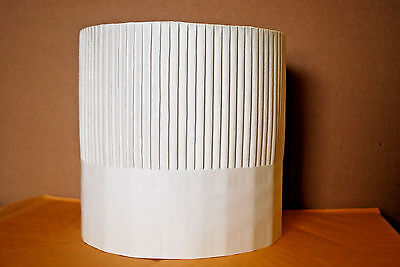 """1-Box of 15 / ROYAL FLUTED 7"""" WHITE PAPER """"CHEF"""" HATS / TOQUES  (NIB) (#S6540)"""