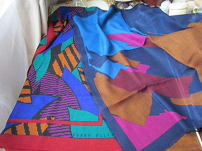 Wool Scarf Lot Shawl Colorful Abstract Print Perry Ellis Monique Martin  Vintage