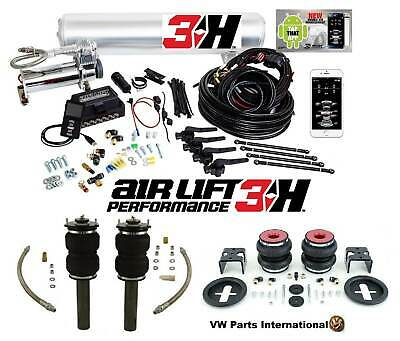 "VW Scirocco MK3 R GT GTS Air Lift 3H 1/4"" Management + Front Rear Slam Kit Bags"
