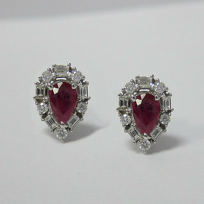 0.97CT Ruby & Diamond Earrings F SI 18KT White Gold
