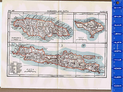 1904 JAMAICA & JAVA Vintage Country MAP