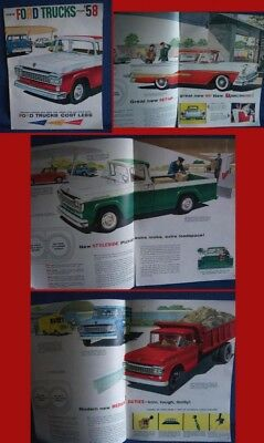 1958 FORD Truck + Ranchero Sales Catalog Brochure - HUGE New Old Stock