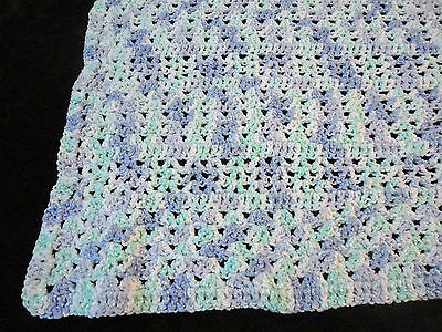 """Beautiful Mauve, Green And White Crocheted Baby Blanket 38""""X 48"""""""