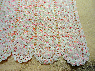 """Stunning Pink, Peach, Green And White Crocheted Baby Blanket 39""""X 59"""""""