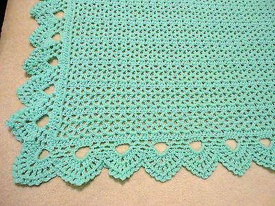 """Beautiful Mint Green Crocheted Baby Blanket 44""""X52"""" With A Peaked Border"""
