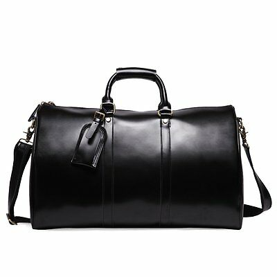 Mens Genuine Leather Overnight Travel Duffle Weekend Bag