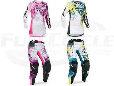 Fly Racing Kinetic Women's Girl's Jersey & Pants Motocross Riding Gear 2017
