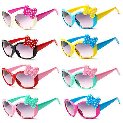 New Girls Boy Cat Anti UV Eyeglasses Glasses Toddler Baby Cartoon Bow Sunglasses