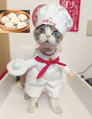 Cute Pet Dog Cat Clothes Funny Baker Waiter Uniform Dress Cosplay Costume Outfit