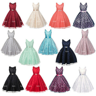 Full Lace Flower Girl Dresses Pageant Wedding Bridesmaid Birthday Party Formal