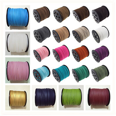wholesale 3mm Faux Suede Cord Leather jewelry Making Beading Flat Thread String