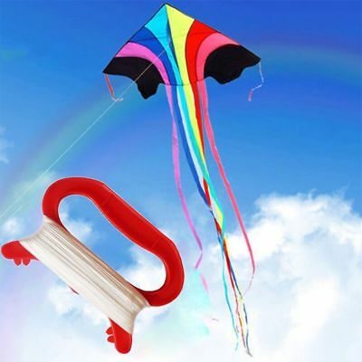 New 30/50/100M Kid Outdoor Flying Kite D Shape Red Handle Line String