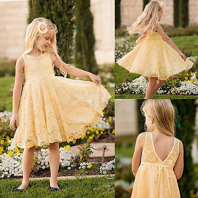 Baby Girls Kids Full Lace Floral Yellow Short Dress Child Princess Party Dresses