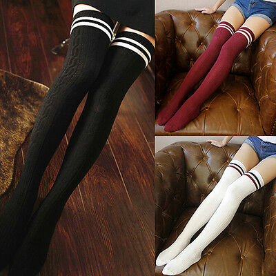 Women Girls Sexy Stripes Thigh High Stockings Opaque Over The Knee Socks Popular