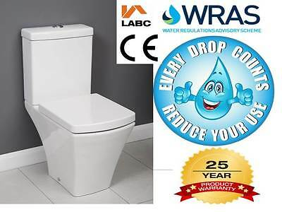 Square Compact Short Projection Close Coupled Toilet Quick Relase Wrap Over Seat