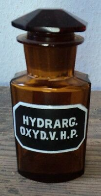 altes Apothekerglas Flasche Apotheke emailliert #25 HYDRARG. OXYD. V. H. P.