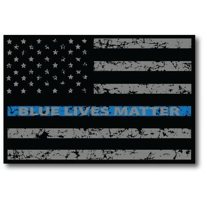 Blue Lives Matter Thin Blue Line Magnet Distressed American Flag 4x6 Car Decal