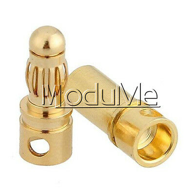20PCS 10Pairs 3.5mm Gold Plated Male&Female Bullet Banana Plug Connector F ESC M