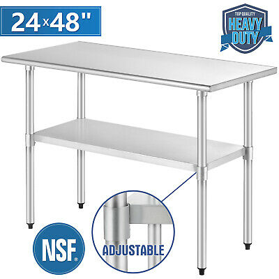"""Commercial Prep & Work Table 24""""x48"""" Stainless Steel Food Kitchen Restaurant"""