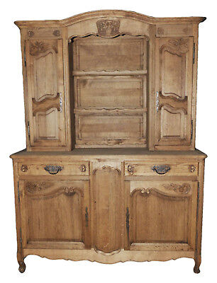 Antique French Country Dining Cabinet Kitchen Display BEAUTIFUL  Bleached Finish