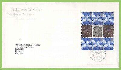 GB 2000 Queen Mother Booklet Pane on Royal Mail FDC Clarence House h/s