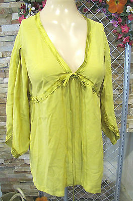 57a31ce0bf44a3 Robert Rodriguez Top Blouse Tunic Silk Chartreuse Green Empire Drawstring  Sz S m