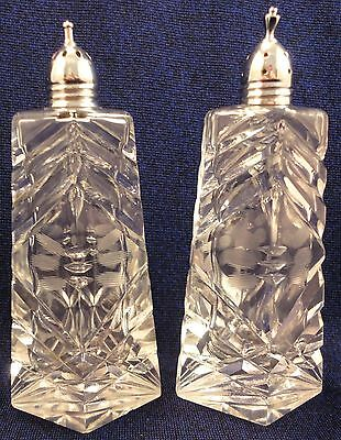 Vintage Deco Cut Glass Salt & Pepper Shaker Diamond Shape