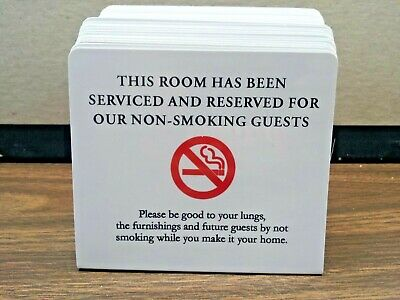 """HOTEL/MOTEL NO SMOKING PLASTIC STAND UP ROOM SIGN ( SIX PER PACK ) 4"""" x 5"""""""
