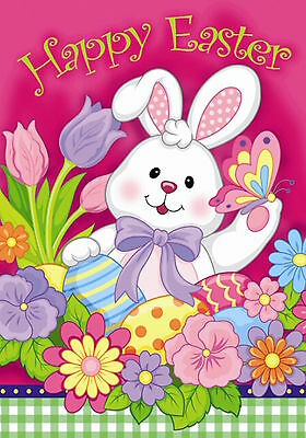 """Happy Easter Bunny Garden Flag Decorated Eggs Tulips 12.5"""" x 18"""" Briarwood Lane"""