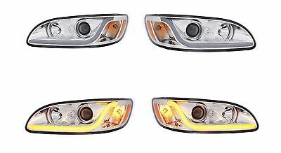 Peterbilt 386/387 Projection Headlight SET- (CHROME) LED Light Bars - PRE-SALE!