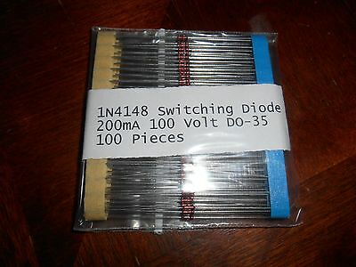 100pcs 1N4148 Diode DO-35 100V 200mA Switching Signal Diode, US Seller