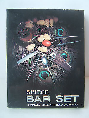 5 Piece Vintage Bar Set in box Used Stainless Steel with Rosewood Handles Japan