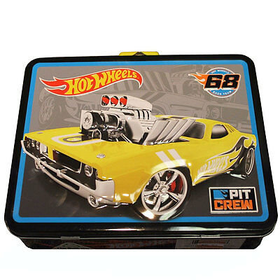 HOT WHEELS CARS Kids Boys Metal Tin Lunch Box CARRY ALL Case Bag Collectible YL