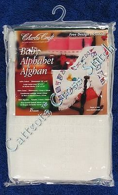 Cross Stitch Baby Alphabet Afghan Cloth Antique White Cotton 18 Count