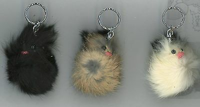 """Keychain Furry Face Key Chain 4 1/2"""" x 2"""" Black Eyes Pink Nose New"""