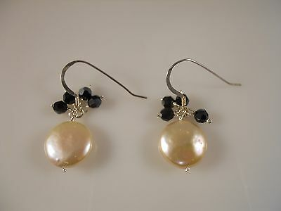 Sterling Silver, Pink Coin Freshwater Pearl With Faceted Black Stone Earrings