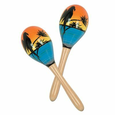 Tropical Fun Maracas Hand Decorated Wood (2 pack)