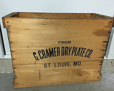Antique Cramer Dry Plate Co St Louis Dry Plate Wood Crate Photography Camera