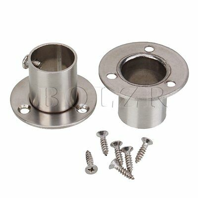 2x 22mm Stainless Steel Pipe Flange Socket Rod Holder Fitting Bracket Hardware