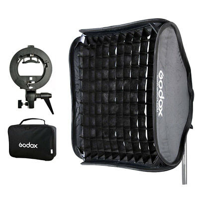 "Godox 60x60cm 24"" Honeycomb Grid Softbox + S-Type Flash Bracket Bowens Mount Kit"