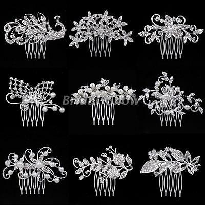 Animal Floral Style Diamante Crystal Pearl Bridal Hair Combs Wedding Accessories